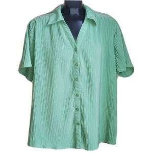 Traditions | Short Sleeve Button Up Green Blouse